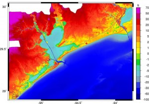 ADCIRC Mesh with 2004 Topographic Contours (feet NAVD88) for the Galveston Bay and Jefferson County Study Areas (source: ARCADIS, Inc.)